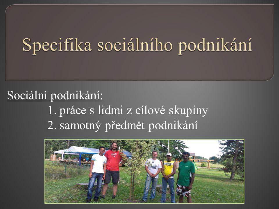 Sociální podnikání: 1. práce s lidmi z cílové skupiny 2. samotný předmět podnikání