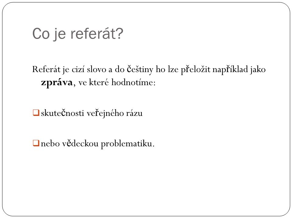 Co je referát.