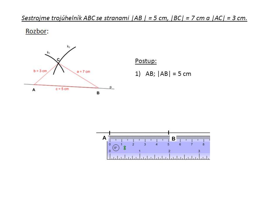 Sestrojme trojúhelník ABC se stranami |AB | = 5 cm, |BC| = 7 cm a |AC| = 3 cm.