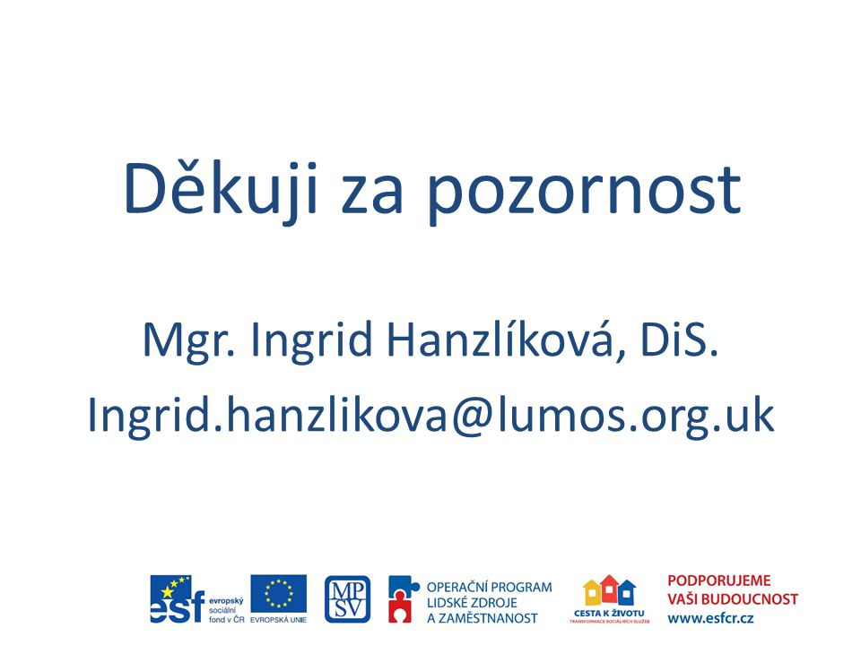 Děkuji za pozornost Mgr. Ingrid Hanzlíková, DiS. Ingrid.hanzlikova@lumos.org.uk