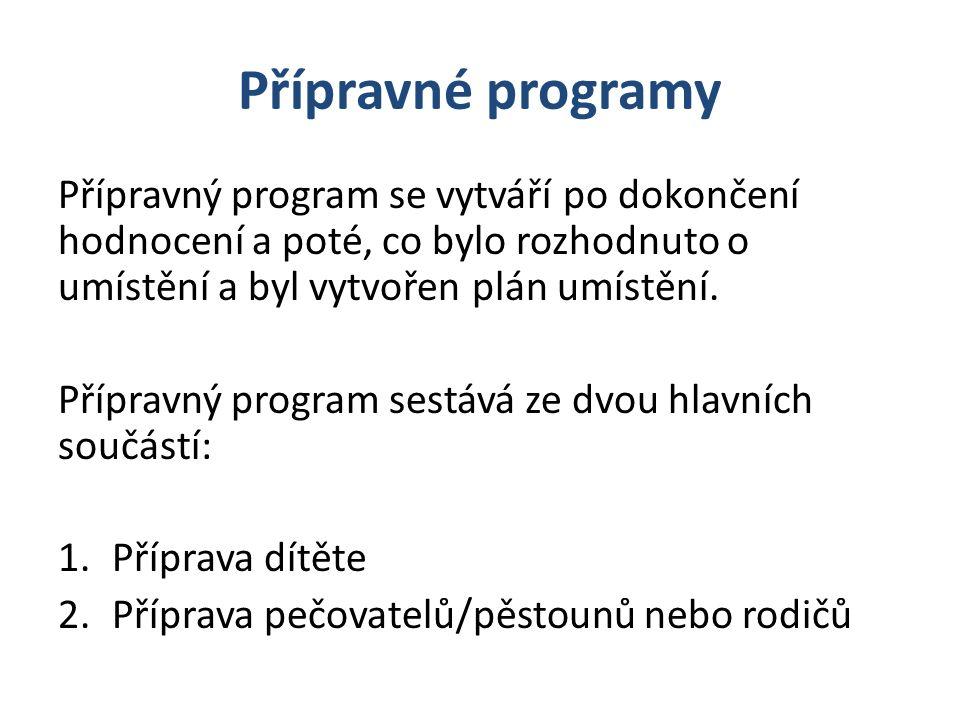 Přípravné programy Přípravný program se vytváří po dokončení hodnocení a poté, co bylo rozhodnuto o umístění a byl vytvořen plán umístění.