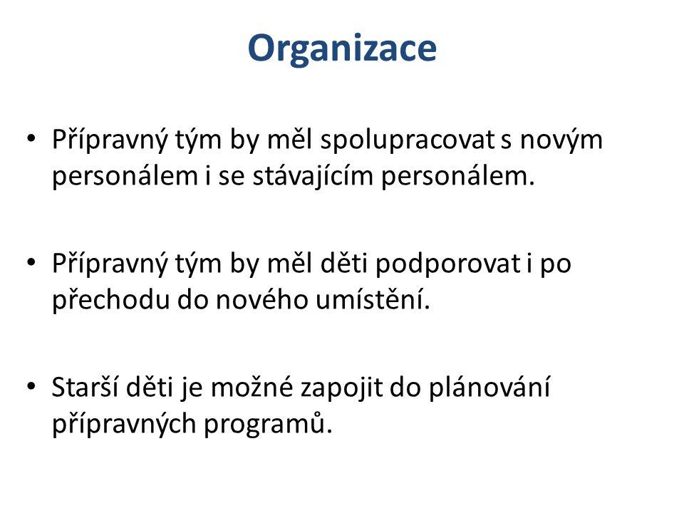 Organizace Přípravný tým by měl spolupracovat s novým personálem i se stávajícím personálem.