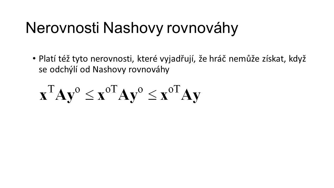 Nerovnosti Nashovy rovnováhy Platí též tyto nerovnosti, které vyjadřují, že hráč nemůže získat, když se odchýlí od Nashovy rovnováhy