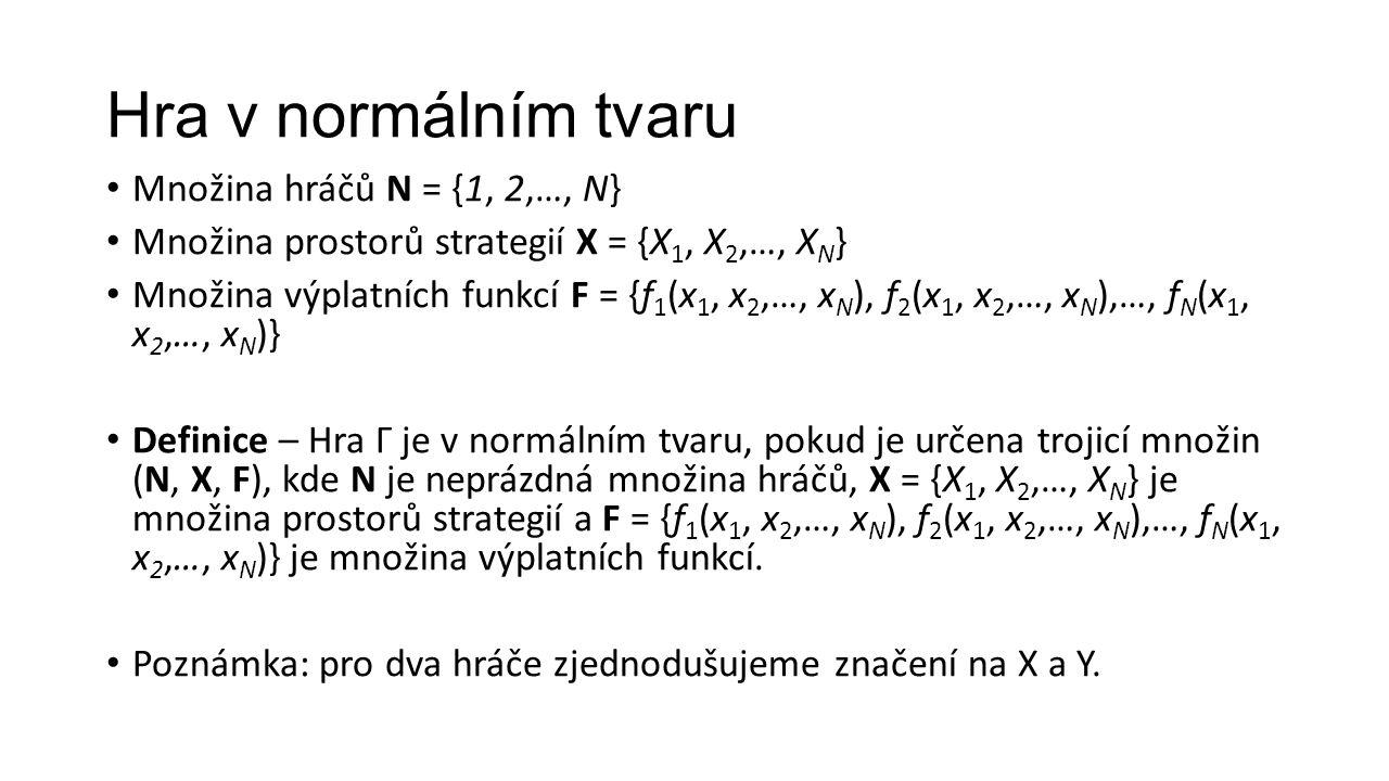 Hra v normálním tvaru Množina hráčů N = {1, 2,…, N} Množina prostorů strategií X = {X 1, X 2,…, X N } Množina výplatních funkcí F = {f 1 (x 1, x 2,…, x N ), f 2 (x 1, x 2,…, x N ),…, f N (x 1, x 2,…, x N )} Definice – Hra Γ je v normálním tvaru, pokud je určena trojicí množin (N, X, F), kde N je neprázdná množina hráčů, X = {X 1, X 2,…, X N } je množina prostorů strategií a F = {f 1 (x 1, x 2,…, x N ), f 2 (x 1, x 2,…, x N ),…, f N (x 1, x 2,…, x N )} je množina výplatních funkcí.