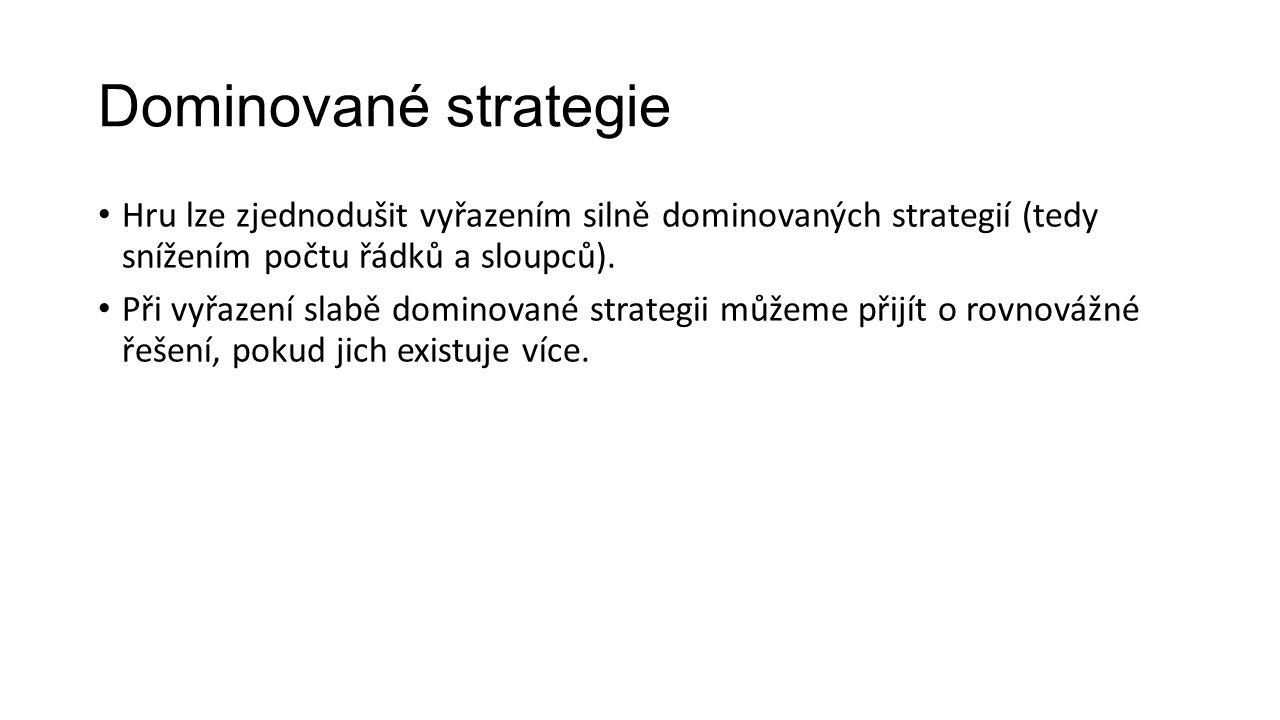 Dominované strategie Hru lze zjednodušit vyřazením silně dominovaných strategií (tedy snížením počtu řádků a sloupců).