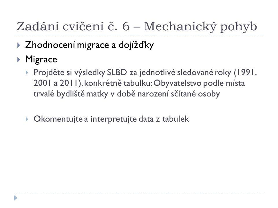 Zadání cvičení č. 6 – Mechanický pohyb  Zhodnocení migrace a dojížďky  Migrace  Projděte si výsledky SLBD za jednotlivé sledované roky (1991, 2001