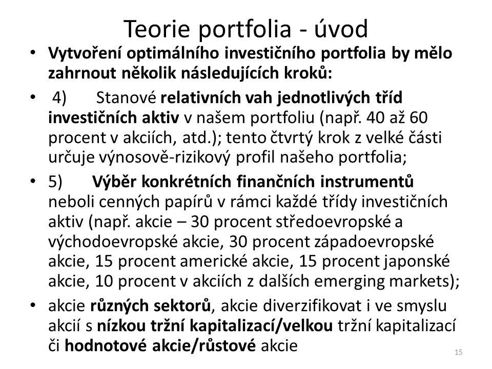 Teorie portfolia - úvod Vytvoření optimálního investičního portfolia by mělo zahrnout několik následujících kroků: 4) Stanové relativních vah jednotlivých tříd investičních aktiv v našem portfoliu (např.