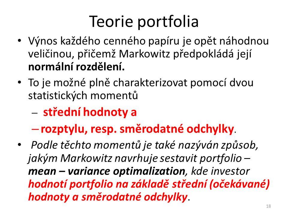 Teorie portfolia Výnos každého cenného papíru je opět náhodnou veličinou, přičemž Markowitz předpokládá její normální rozdělení.