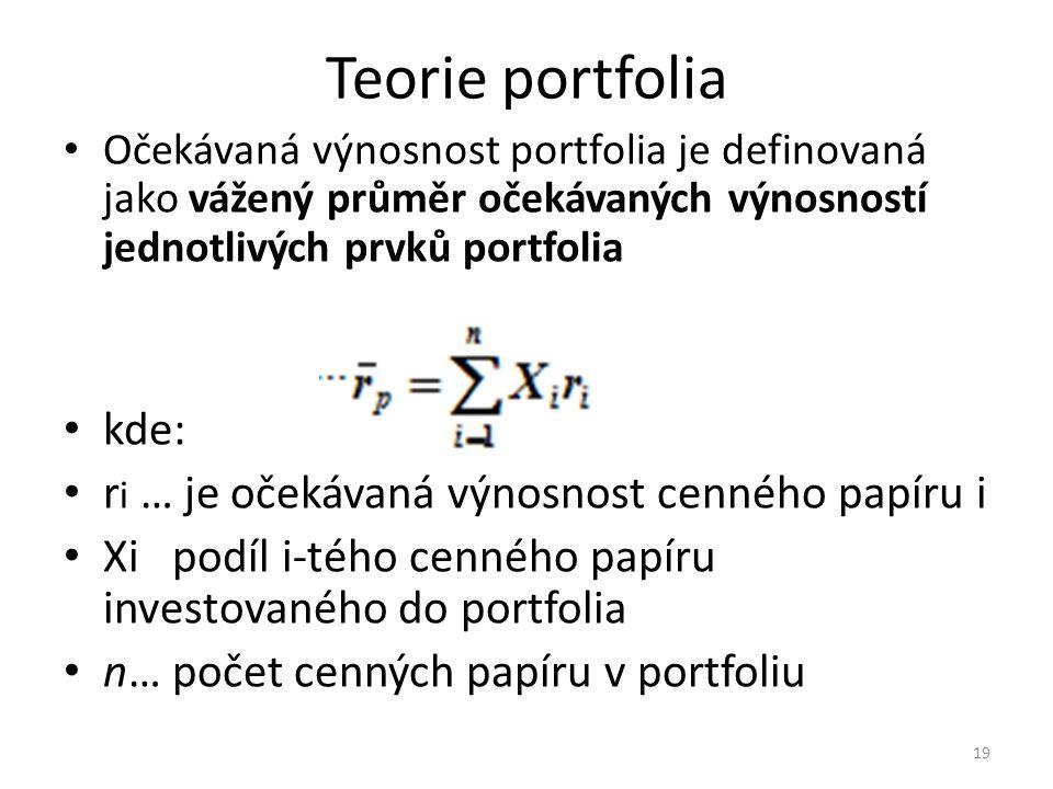 Teorie portfolia Očekávaná výnosnost portfolia je definovaná jako vážený průměr očekávaných výnosností jednotlivých prvků portfolia kde: r i … je očekávaná výnosnost cenného papíru i Xi podíl i-tého cenného papíru investovaného do portfolia n… počet cenných papíru v portfoliu 19