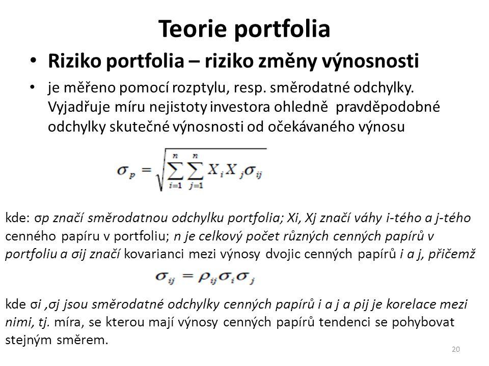 Teorie portfolia Riziko portfolia – riziko změny výnosnosti je měřeno pomocí rozptylu, resp.