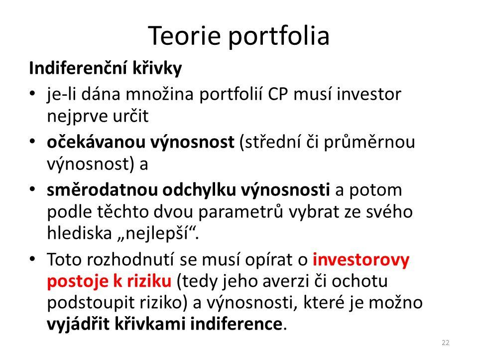 """Teorie portfolia Indiferenční křivky je-li dána množina portfolií CP musí investor nejprve určit očekávanou výnosnost (střední či průměrnou výnosnost) a směrodatnou odchylku výnosnosti a potom podle těchto dvou parametrů vybrat ze svého hlediska """"nejlepší ."""