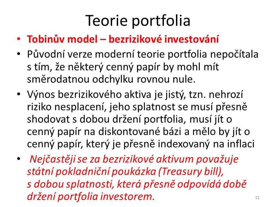Teorie portfolia Tobinův model – bezrizikové investování Původní verze moderní teorie portfolia nepočítala s tím, že některý cenný papír by mohl mít směrodatnou odchylku rovnou nule.