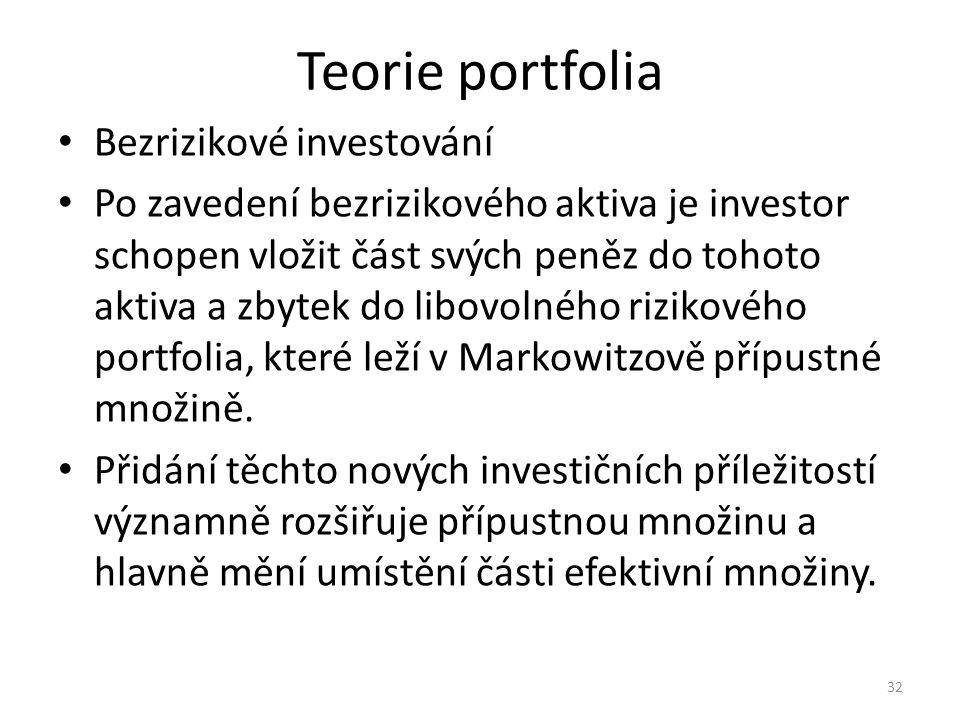 Teorie portfolia Bezrizikové investování Po zavedení bezrizikového aktiva je investor schopen vložit část svých peněz do tohoto aktiva a zbytek do libovolného rizikového portfolia, které leží v Markowitzově přípustné množině.