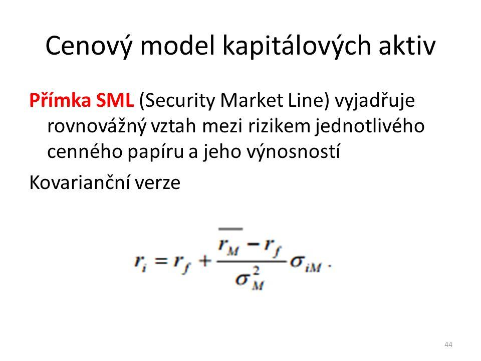 Cenový model kapitálových aktiv Přímka SML (Security Market Line) vyjadřuje rovnovážný vztah mezi rizikem jednotlivého cenného papíru a jeho výnosností Kovarianční verze 44