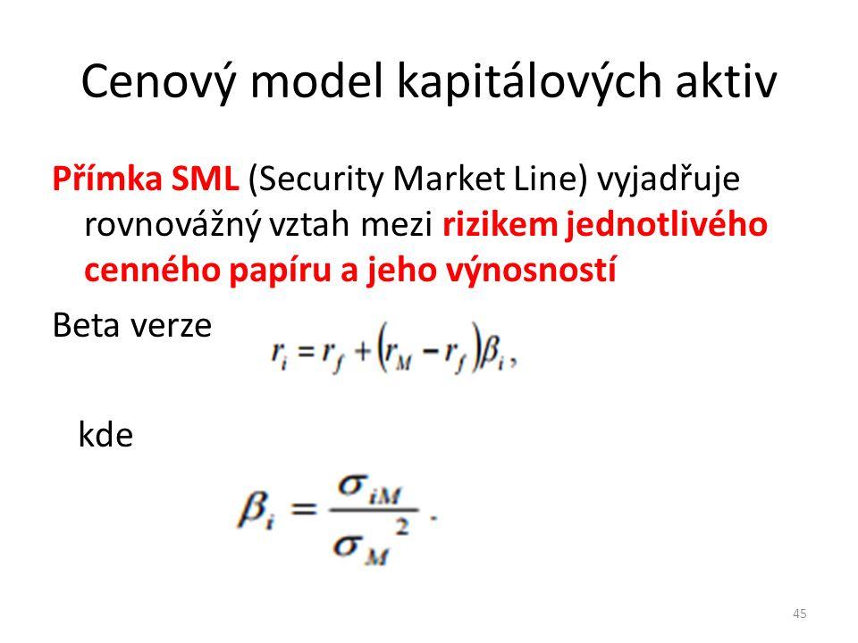 Cenový model kapitálových aktiv Přímka SML (Security Market Line) vyjadřuje rovnovážný vztah mezi rizikem jednotlivého cenného papíru a jeho výnosností Beta verze kde 45