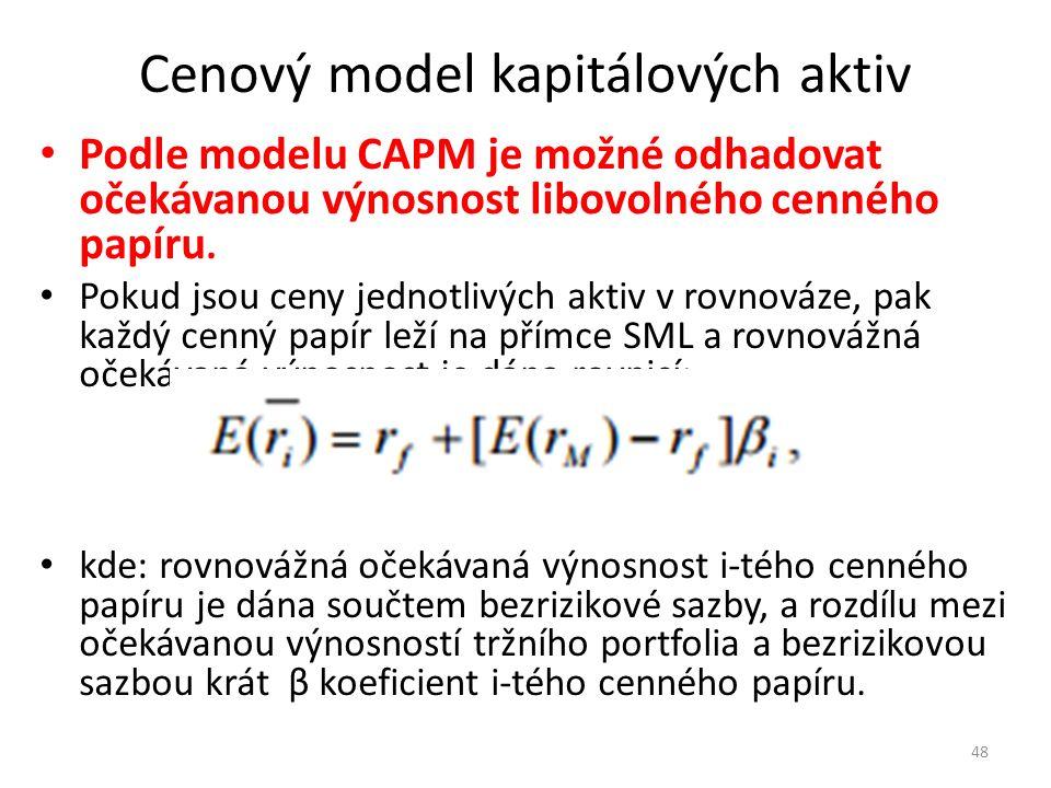 Cenový model kapitálových aktiv Podle modelu CAPM je možné odhadovat očekávanou výnosnost libovolného cenného papíru.