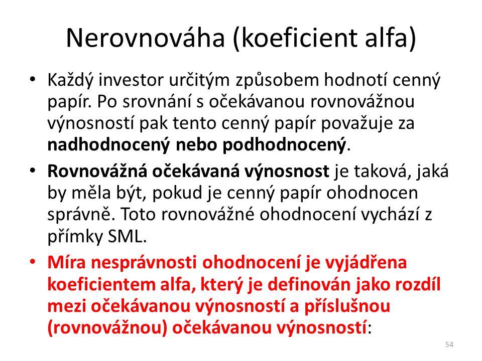 Nerovnováha (koeficient alfa) Každý investor určitým způsobem hodnotí cenný papír.