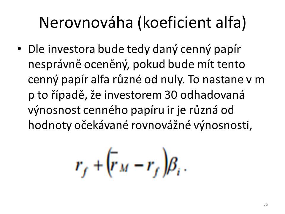 Nerovnováha (koeficient alfa) Dle investora bude tedy daný cenný papír nesprávně oceněný, pokud bude mít tento cenný papír alfa různé od nuly.