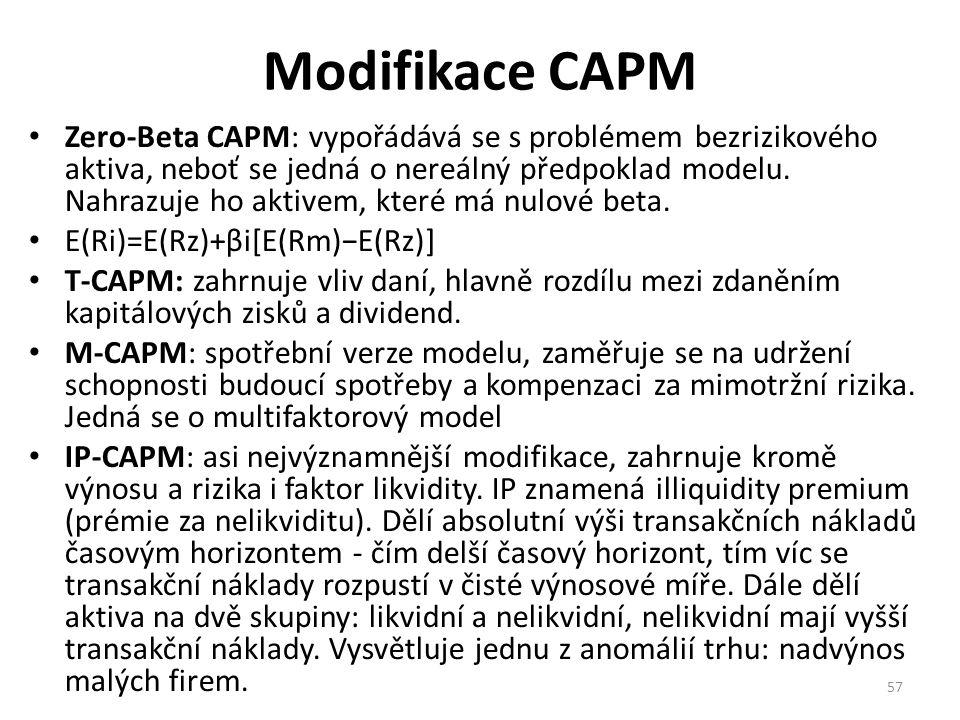 Modifikace CAPM Zero-Beta CAPM: vypořádává se s problémem bezrizikového aktiva, neboť se jedná o nereálný předpoklad modelu.