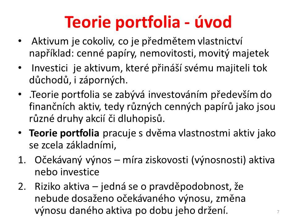 Teorie portfolia - historie První základy či poznatky vztahující se k teorii portfolia lze najít již v článku J.