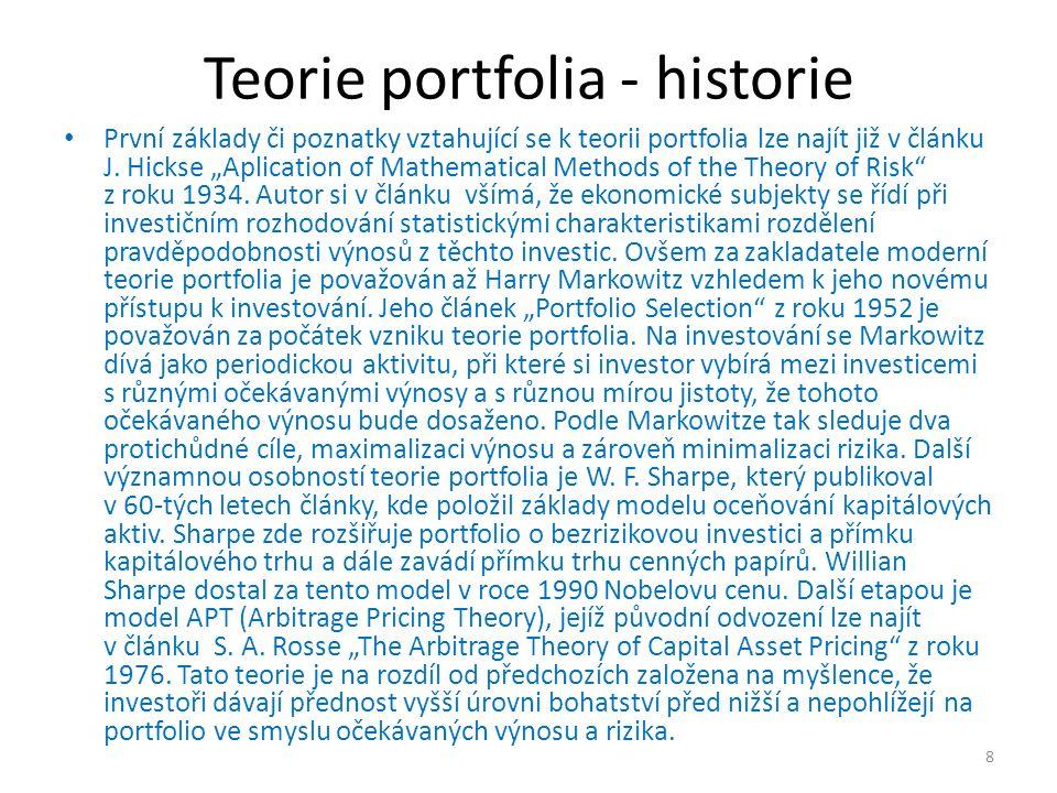 Teorie portfolia - úvod Modern Portfolio Theory – MPT analyzuje poptávku investorů po aktivech za předpokladu znalosti výnosu daných aktiv, řeší vztah rizika a výnosu a jejich vliv na poptávku a nabídku Cílem je vysvětlit, jakým způsobem může investor maximalizovat výnos a minimalizovat s tím spjaté riziko.