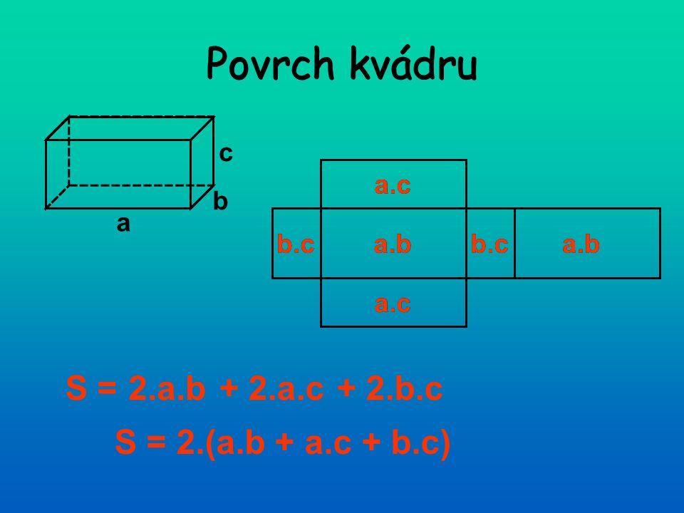 Povrch kvádru a b c a.c b.ca.bb.ca.b a.c S = S = 2.(a.b + a.c + b.c) + 2.a.c+ 2.b.c2.a.b a.b a.c b.c