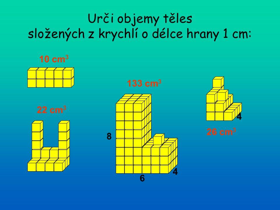 Urči objemy těles složených z krychlí o délce hrany 1 cm: 10 cm 3 22 cm 3 133 cm 3 26 cm 3 4 6 8 4
