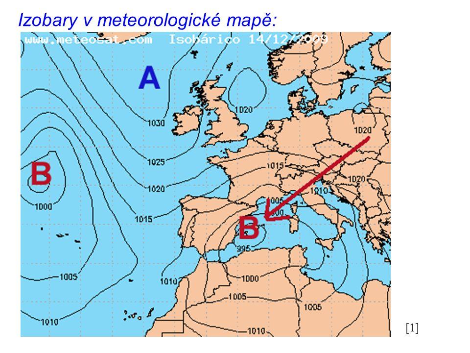 Izobary v meteorologické mapě: [1]