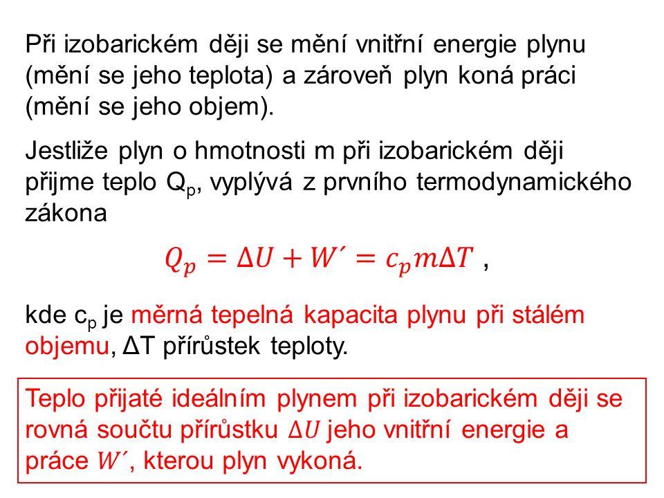 Při izobarickém ději se mění vnitřní energie plynu (mění se jeho teplota) a zároveň plyn koná práci (mění se jeho objem). Jestliže plyn o hmotnosti m