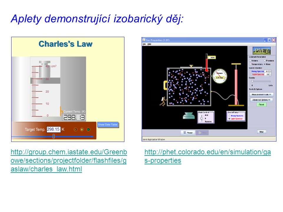 Aplety demonstrující izobarický děj: http://phet.colorado.edu/en/simulation/ga s-properties http://group.chem.iastate.edu/Greenb owe/sections/projectfolder/flashfiles/g aslaw/charles_law.html
