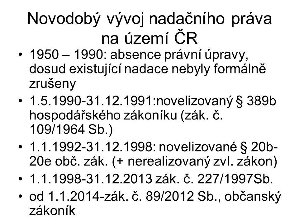 Novodobý vývoj nadačního práva na území ČR 1950 – 1990: absence právní úpravy, dosud existující nadace nebyly formálně zrušeny 1.5.1990-31.12.1991:novelizovaný § 389b hospodářského zákoníku (zák.