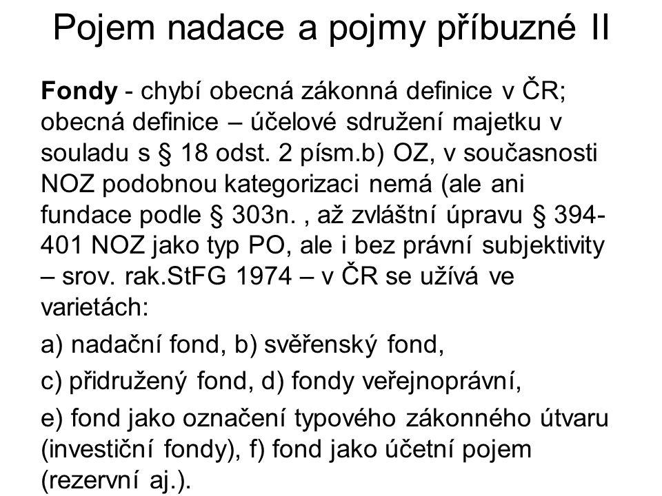 Pojem nadace a pojmy příbuzné II Fondy - chybí obecná zákonná definice v ČR; obecná definice – účelové sdružení majetku v souladu s § 18 odst.