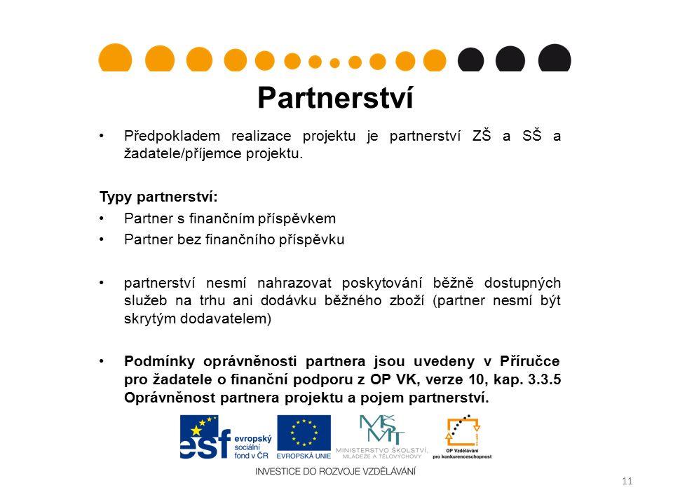 Partnerství Předpokladem realizace projektu je partnerství ZŠ a SŠ a žadatele/příjemce projektu.
