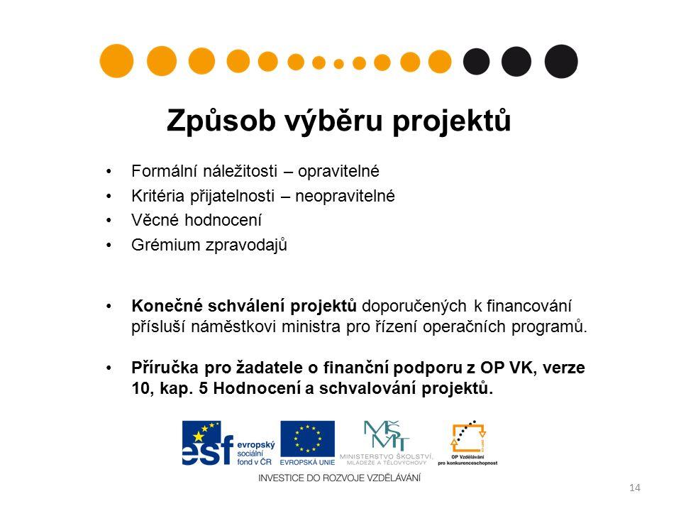 Způsob výběru projektů Formální náležitosti – opravitelné Kritéria přijatelnosti – neopravitelné Věcné hodnocení Grémium zpravodajů Konečné schválení projektů doporučených k financování přísluší náměstkovi ministra pro řízení operačních programů.
