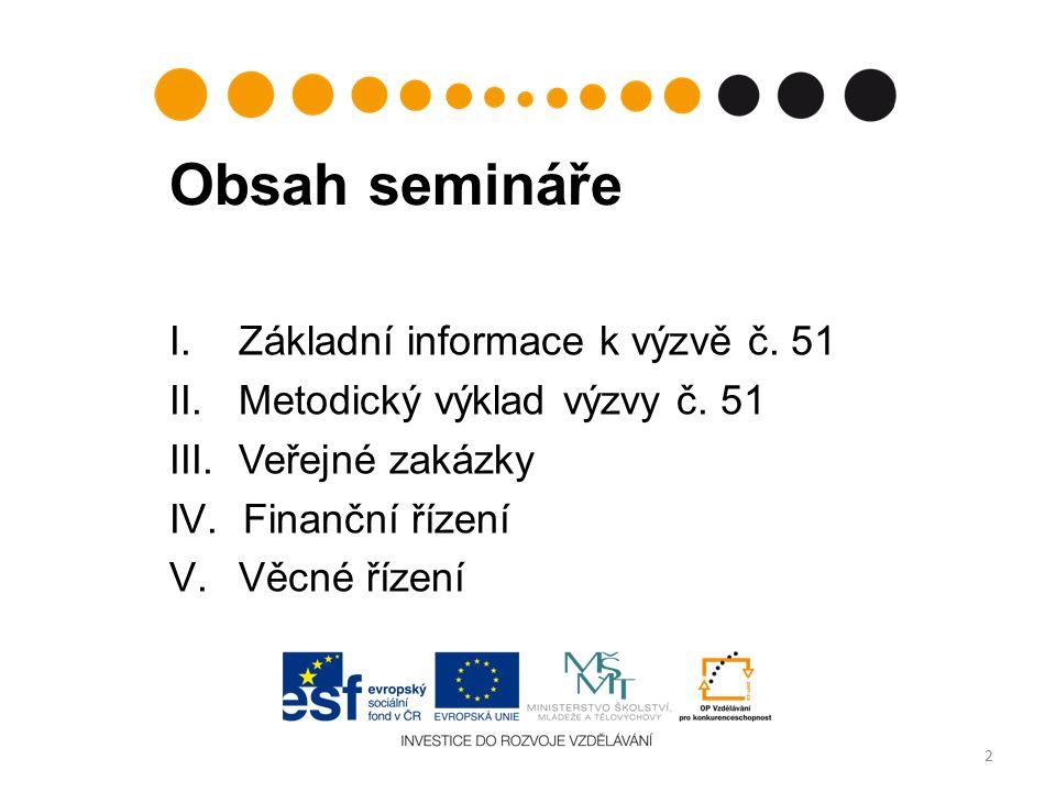 Obsah semináře I. Základní informace k výzvě č. 51 II.