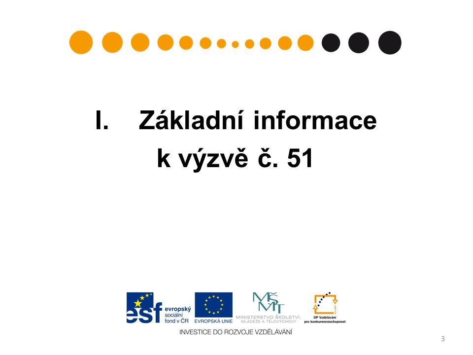 Výzva, termíny výzvy, doba trvání číslo výzvy v informačním systému: 51 (Prioritní osa: 1 – Počáteční vzdělávání, Oblast podpory 1.3 – Zvyšování kvality ve vzdělávání) datum vyhlášení výzvy:4.