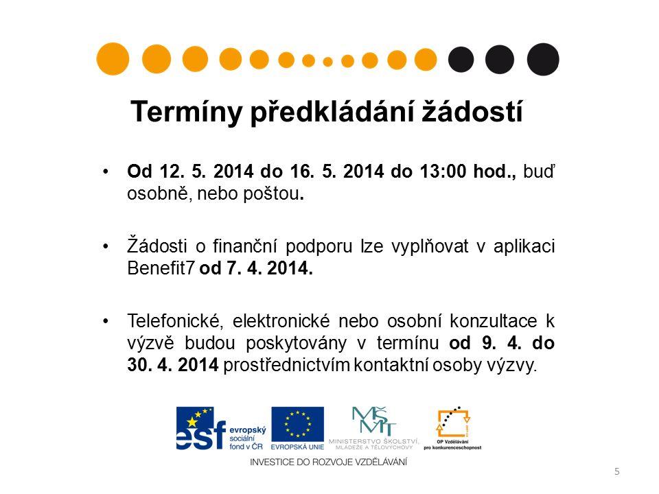 Od 12. 5. 2014 do 16. 5. 2014 do 13:00 hod., buď osobně, nebo poštou.