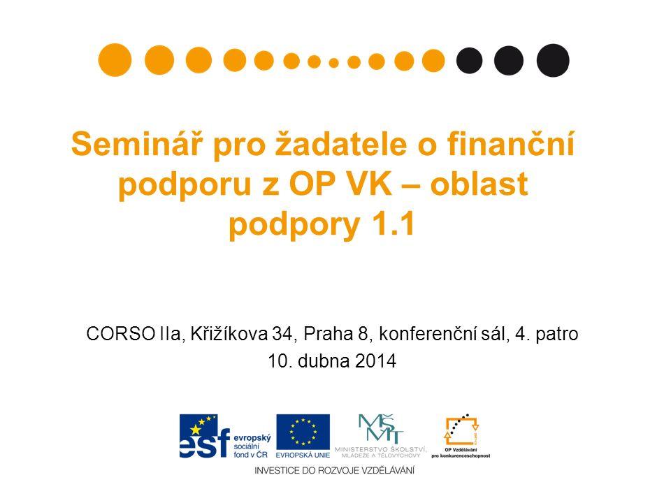Seminář pro žadatele o finanční podporu z OP VK – oblast podpory 1.1 CORSO IIa, Křižíkova 34, Praha 8, konferenční sál, 4.
