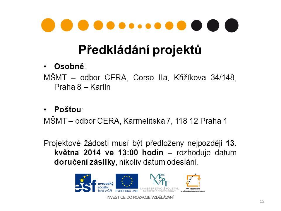 Předkládání projektů Osobně: MŠMT – odbor CERA, Corso IIa, Křižíkova 34/148, Praha 8 – Karlín Poštou: MŠMT – odbor CERA, Karmelitská 7, 118 12 Praha 1 Projektové žádosti musí být předloženy nejpozději 13.