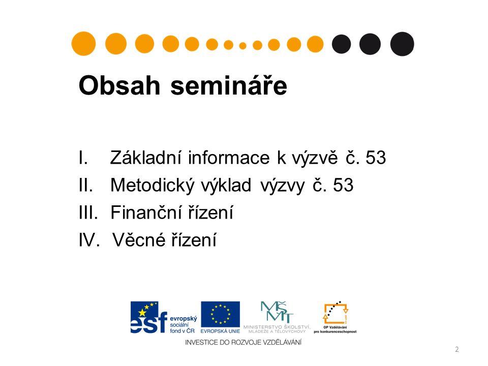 Obsah semináře I. Základní informace k výzvě č. 53 II. Metodický výklad výzvy č. 53 III. Finanční řízení IV. Věcné řízení 2