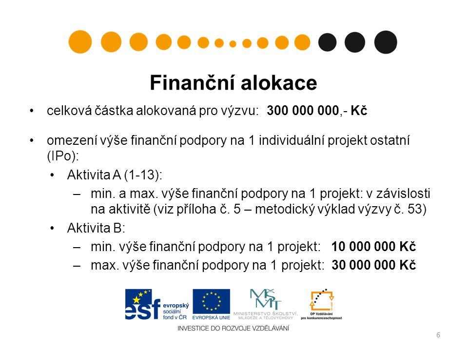 Finanční alokace celková částka alokovaná pro výzvu: 300 000 000,- Kč omezení výše finanční podpory na 1 individuální projekt ostatní (IPo): Aktivita A (1-13): –min.