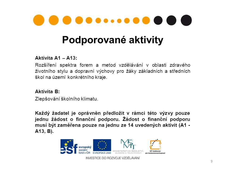 Podporované aktivity Aktivita A1 – A13: Rozšíření spektra forem a metod vzdělávání v oblasti zdravého životního stylu a dopravní výchovy pro žáky základních a středních škol na území konkrétního kraje.