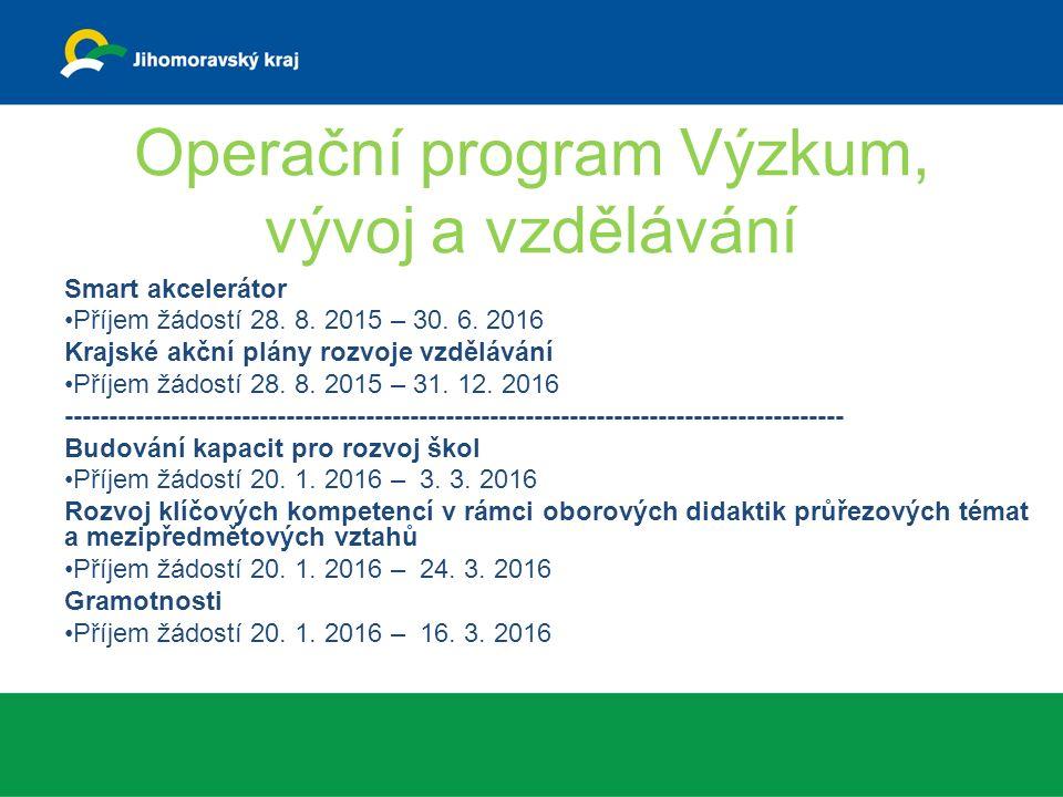 Operační program Výzkum, vývoj a vzdělávání Smart akcelerátor Příjem žádostí 28.