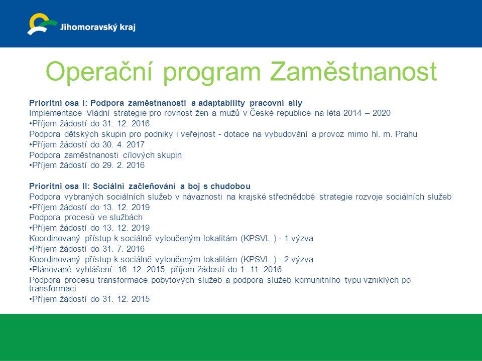 Operační program Zaměstnanost Prioritní osa I: Podpora zaměstnanosti a adaptability pracovní síly Implementace Vládní strategie pro rovnost žen a mužů v České republice na léta 2014 – 2020 Příjem žádostí do 31.