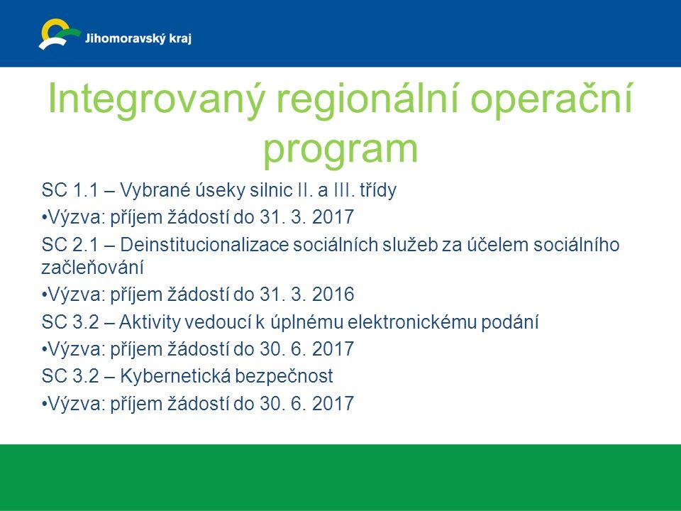 Integrovaný regionální operační program SC 1.1 – Vybrané úseky silnic II.