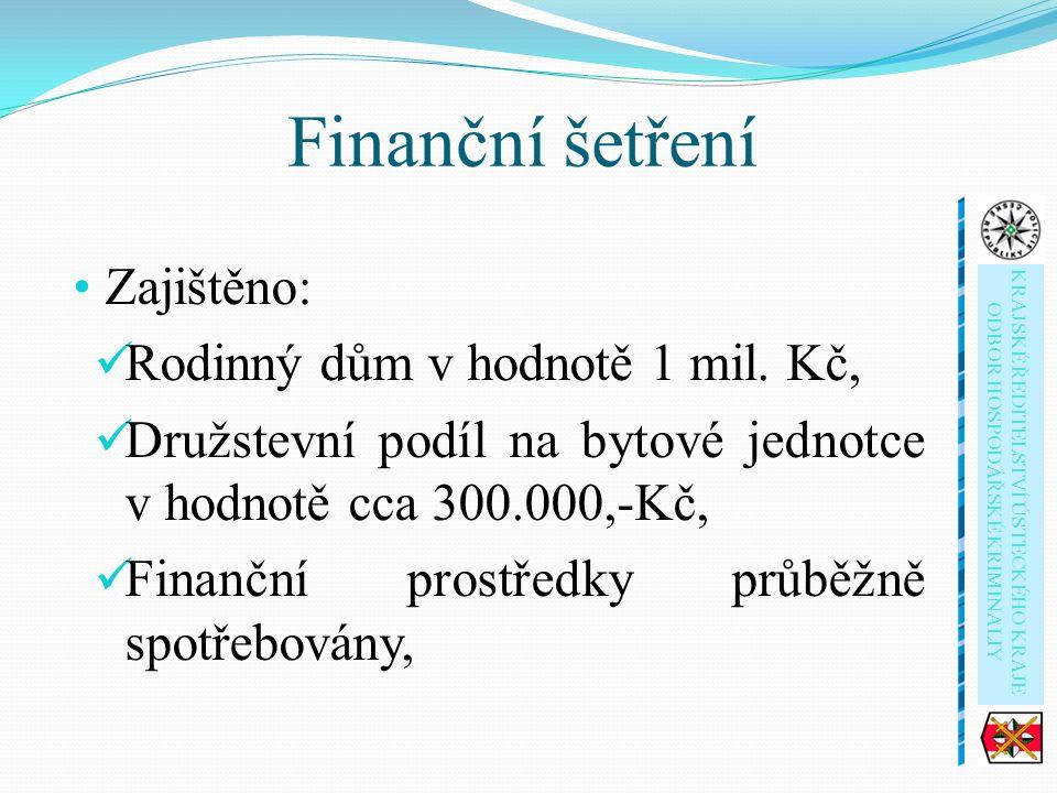 Finanční šetření Zajištěno: Rodinný dům v hodnotě 1 mil.