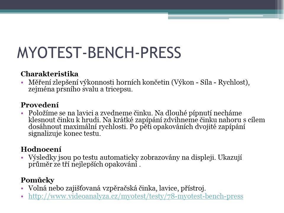 MYOTEST-BENCH-PRESS Charakteristika Měření zlepšení výkonnosti horních končetin (Výkon - Síla - Rychlost), zejména prsního svalu a tricepsu.