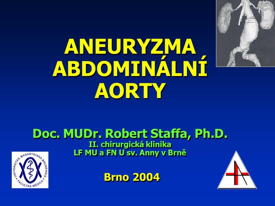 ANEURYZMA ABDOMINÁLNÍ AORTY Doc. MUDr. Robert Staffa, Ph.D.