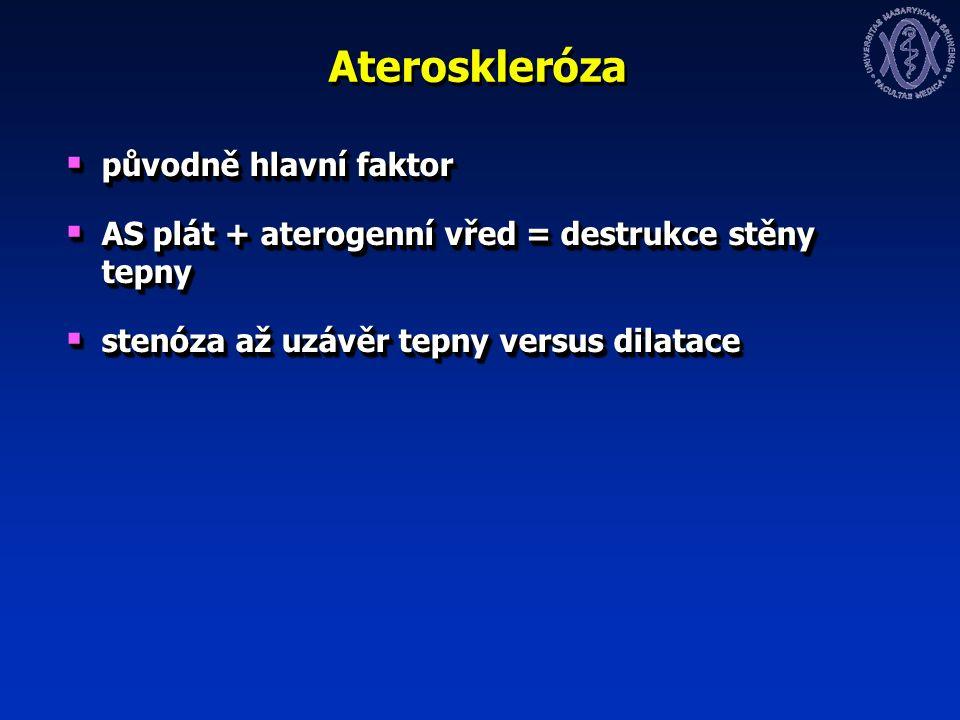 Ateroskleróza  původně hlavní faktor  AS plát + aterogenní vřed = destrukce stěny tepny  stenóza až uzávěr tepny versus dilatace  původně hlavní faktor  AS plát + aterogenní vřed = destrukce stěny tepny  stenóza až uzávěr tepny versus dilatace