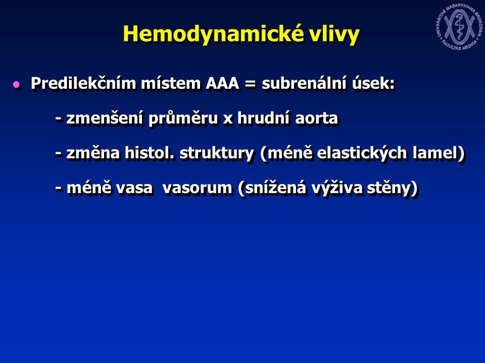 Hemodynamické vlivy Predilekčním místem AAA = subrenální úsek: Predilekčním místem AAA = subrenální úsek: - zmenšení průměru x hrudní aorta - zmenšení průměru x hrudní aorta - změna histol.